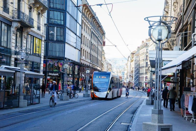 Buss i Genève, Schweiz royaltyfri foto