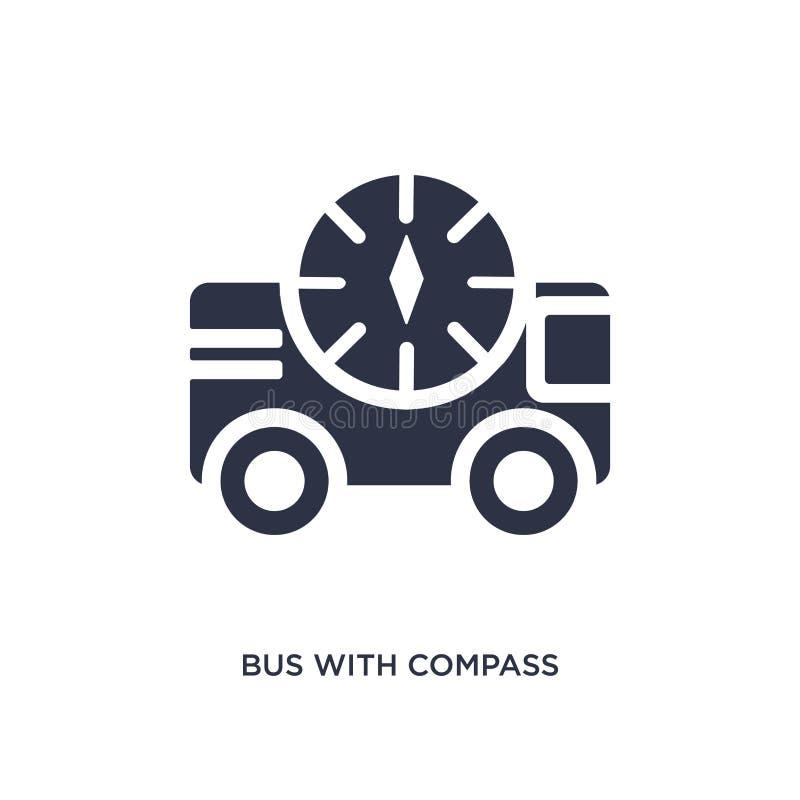 buss med kompasssymbolen på vit bakgrund Enkel beståndsdelillustration från mechaniconsbegrepp royaltyfri illustrationer