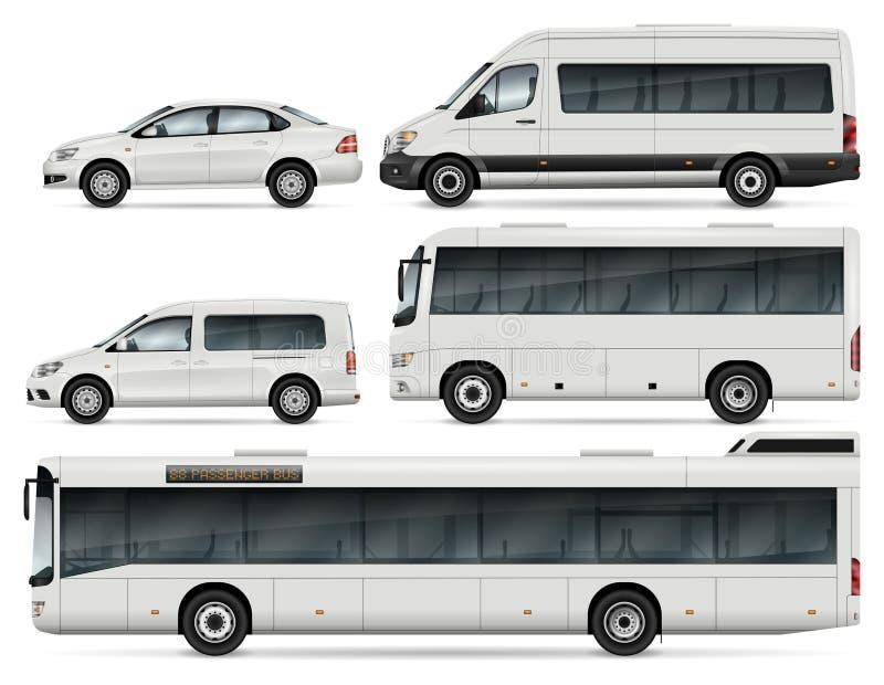 Buss- och bilvektorillustration stock illustrationer
