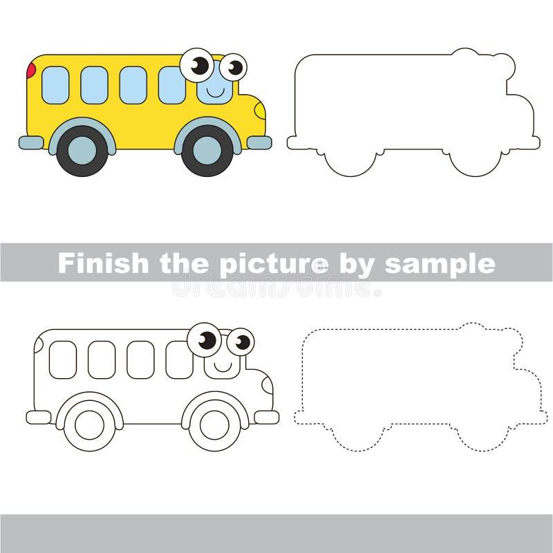 buss Teckningsarbetssedel stock illustrationer