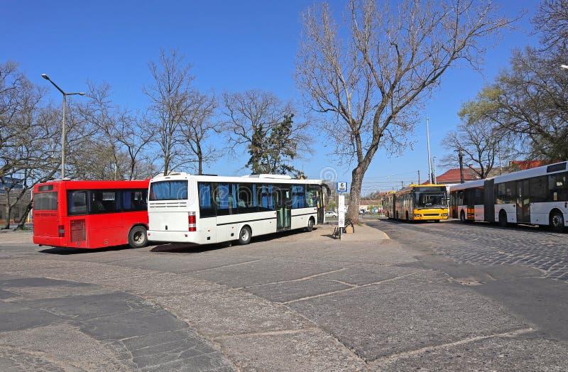 Bussar som står vid terminalen royaltyfri fotografi