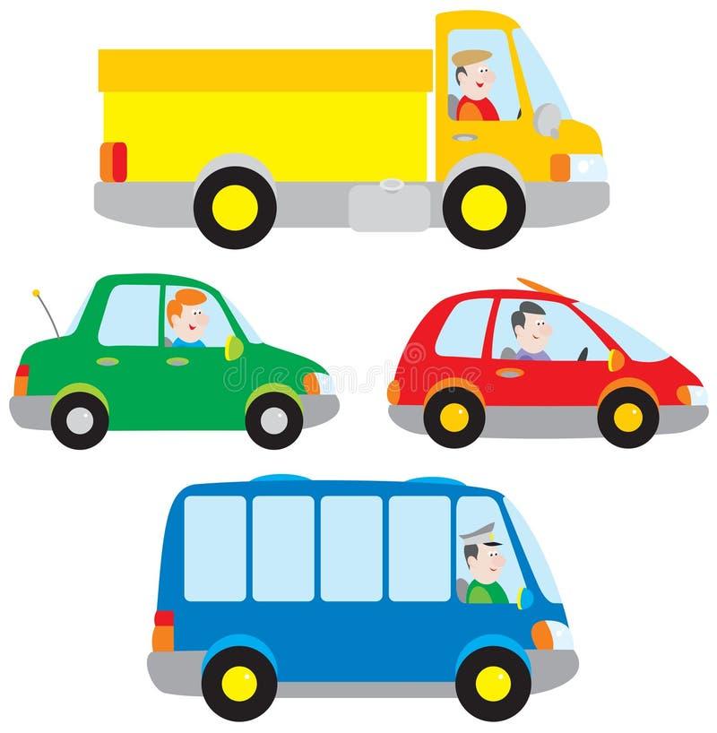 bussbillastbil stock illustrationer