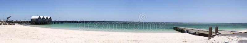 Busselton跳船西部澳大利亚风景全景  免版税图库摄影