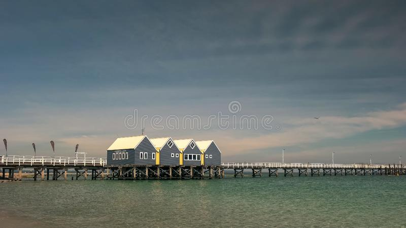 BUSSELTON, WESTERN AUSTRALIA, AUSTRALIA- NOVEMBER 9, 2015: wide angle morning view of west australia`s busselton jetty. The longest jetty in the southern stock images