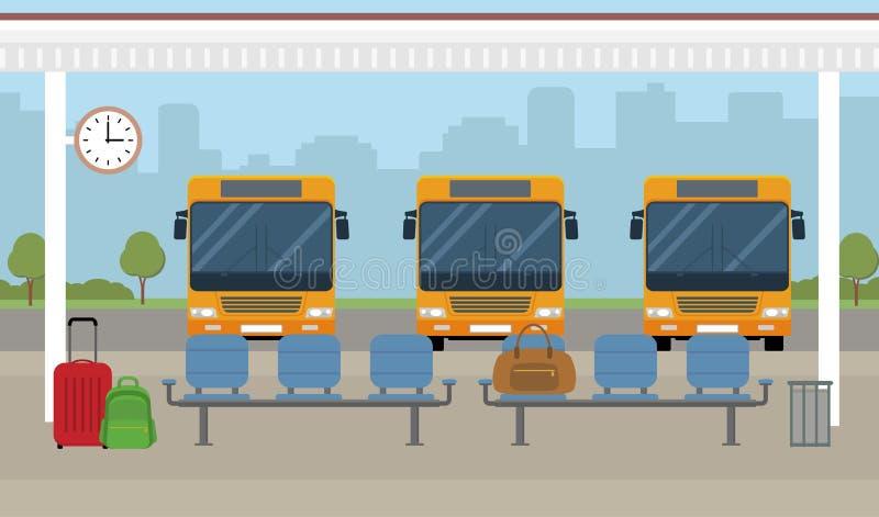 Bussen en wachtend gebied op stadsachtergrond vector illustratie