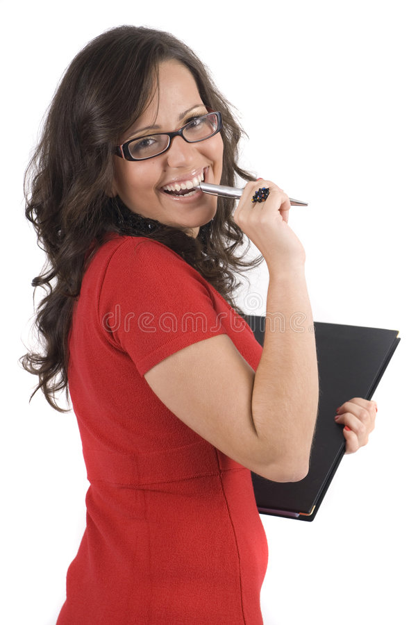 bussines查出秘书妇女年轻人 免版税库存图片
