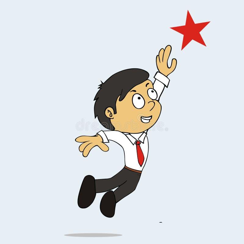 Bussinesman-Reichweite die Stern Karikatur lizenzfreie abbildung