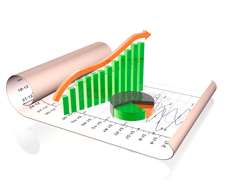 Bussiness. Business picture about analysis - graph and chart stock illustration
