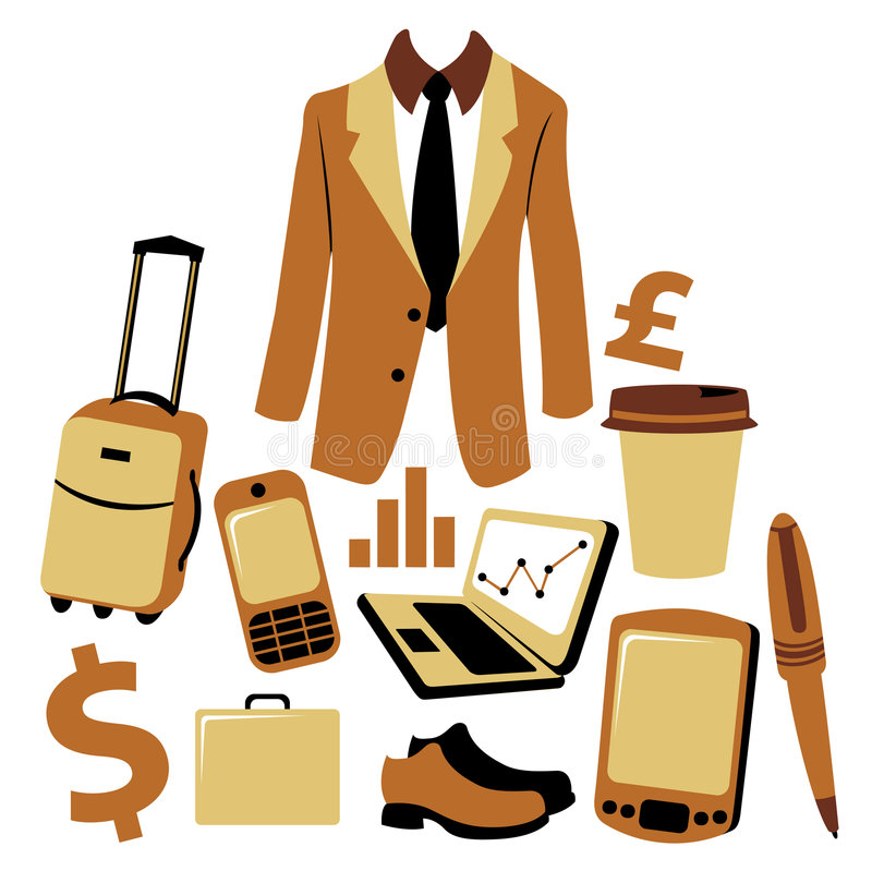 Bussiness man accessories set royalty free illustration