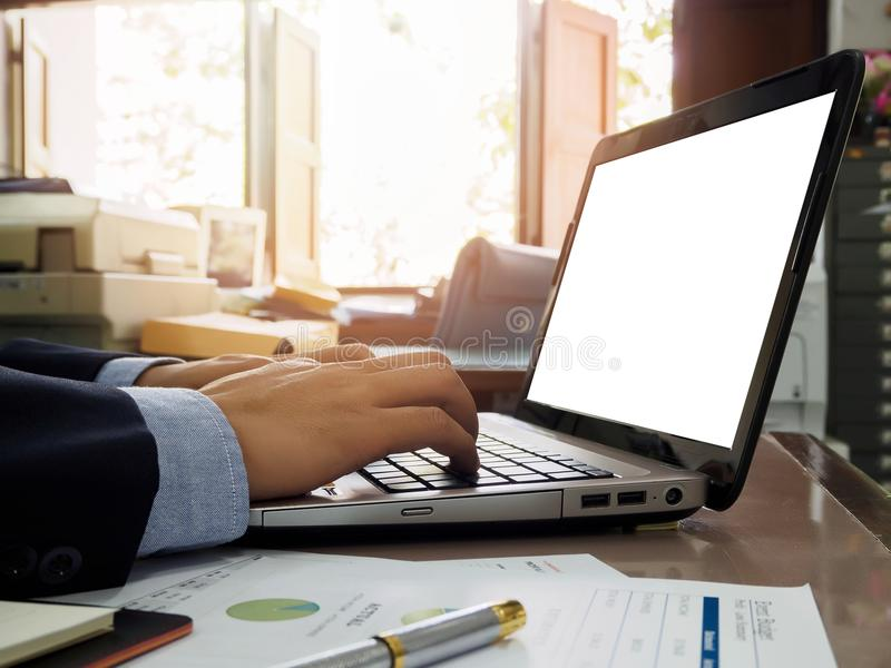 Bussiness man using laptop royalty free stock photos