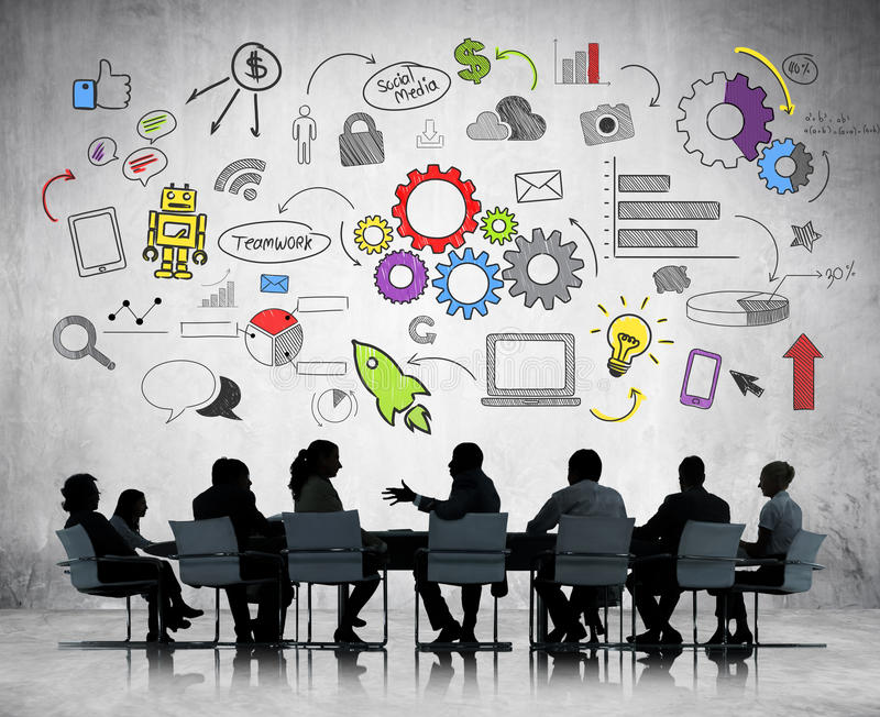 Bussiness Meeting with Business Infographic royalty free stock image