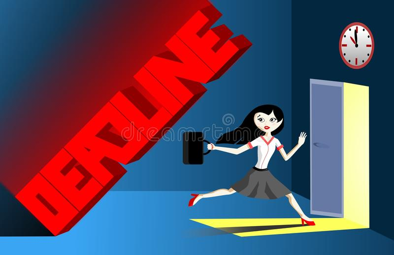 Bussiness woman running from the deadline royalty free stock photo