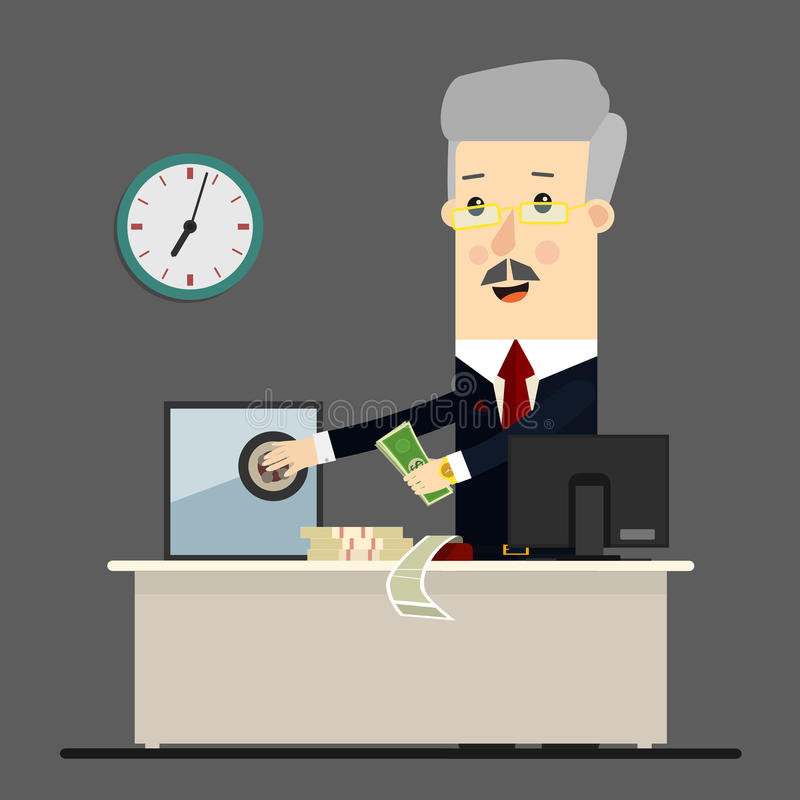 Bussinessman, boss, manager. Successful businessman sitting in a lounge chair front of safe with money. Business stock illustration