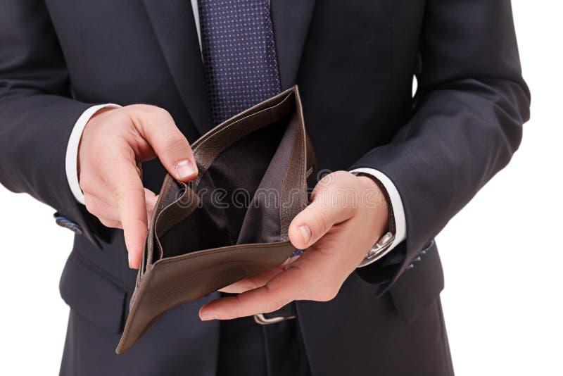 Bussinessman die een lege portefeuille in zijn handen houden royalty-vrije stock afbeeldingen