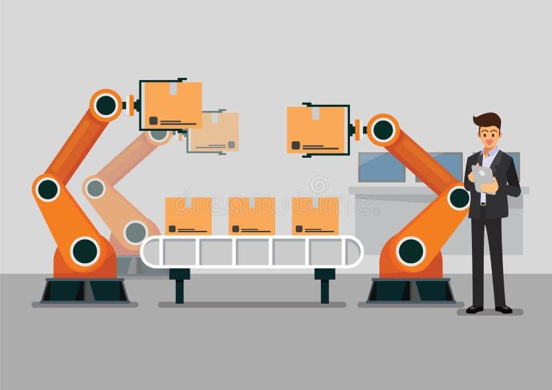 Bussinessman facendo uso della compressa al machin del braccio del robot di automazione di controllo illustrazione vettoriale