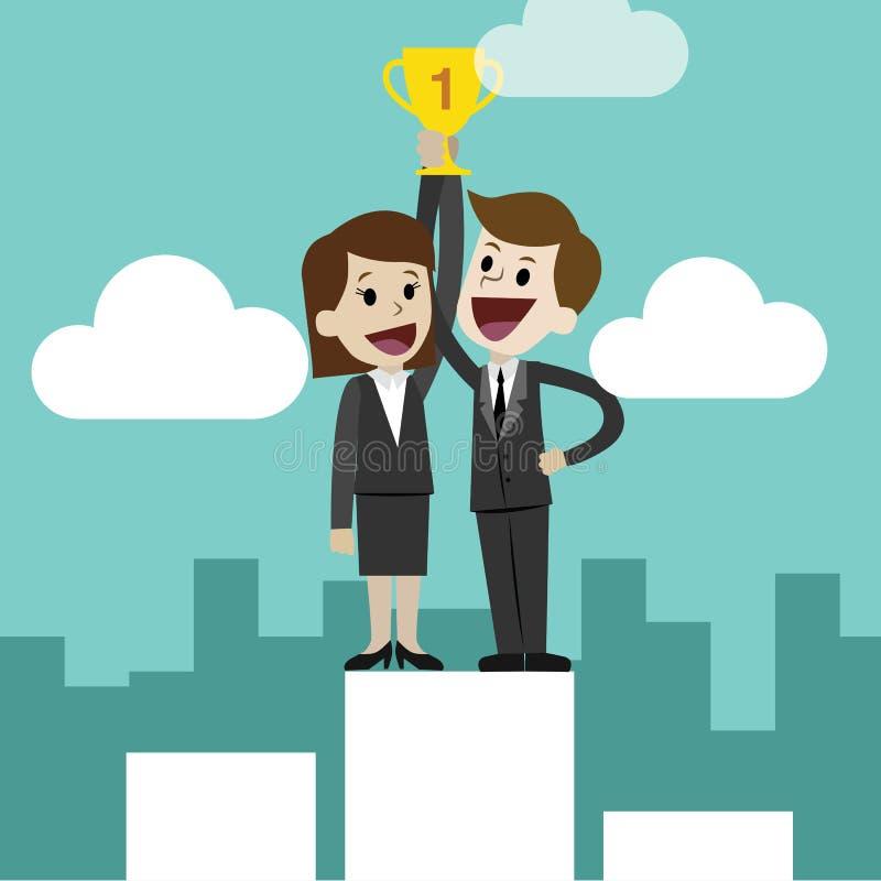 Bussinessman o el encargado y las empresarias tiene un éxito en negocio Taza de oro sobre la cabeza Team el trabajo ilustración del vector