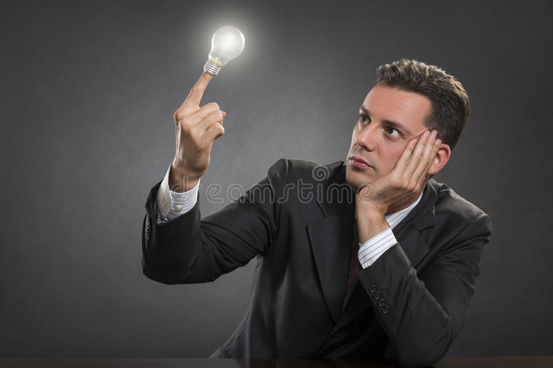 Bussinessman seeking for a vision royalty free stock images