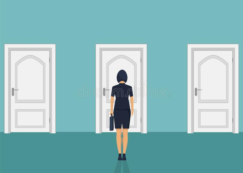 Businesswoman standing in front of the door. Choosing the way. Moving forward vector illustration