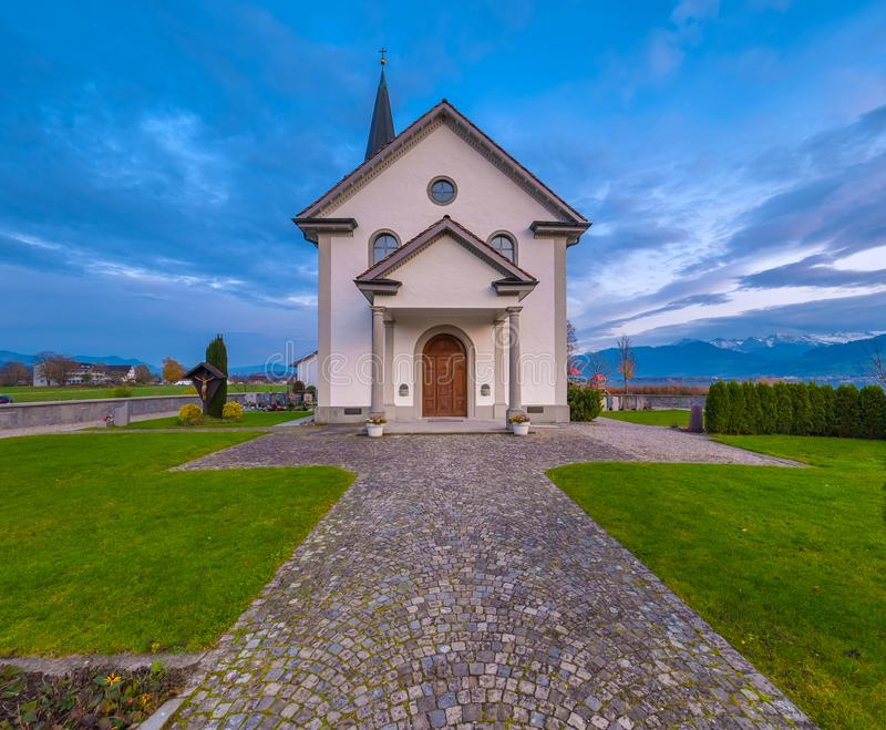 Busskirch church, a dreamy little village on the shores of the Upper Zurich Lake Obersee, Rapperswil-Jona, St. Gallen, stock photo
