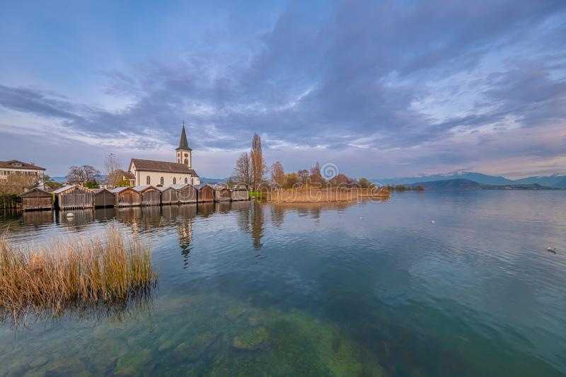 Busskirch, a dreamy little church village on the shores of the Upper Zurich Lake Obersee, Rapperswil-Jona, St. Gallen, stock image