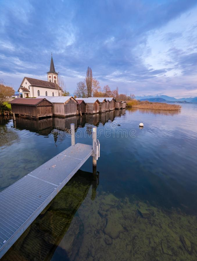 Busskirch, a dreamy little church village on the shores of the Upper Zurich Lake Obersee, Rapperswil-Jona, St. Gallen, royalty free stock photography