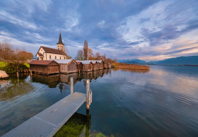 Busskirch, a dreamy little church village on the shores of the Upper Zurich Lake Obersee, Rapperswil-Jona, St. Gallen, stock photos