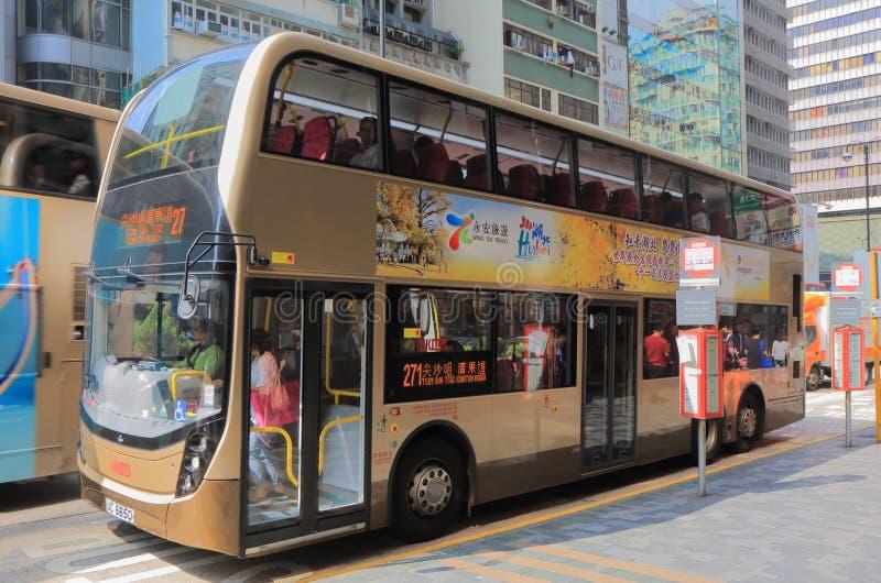 Busskollektivtrafik Hong Kong för dubbel däckare arkivbild