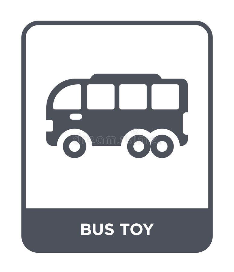 bussleksaksymbol i moderiktig designstil bussleksaksymbol som isoleras på vit bakgrund symbol för symbol för bussleksakvektor enk royaltyfri illustrationer