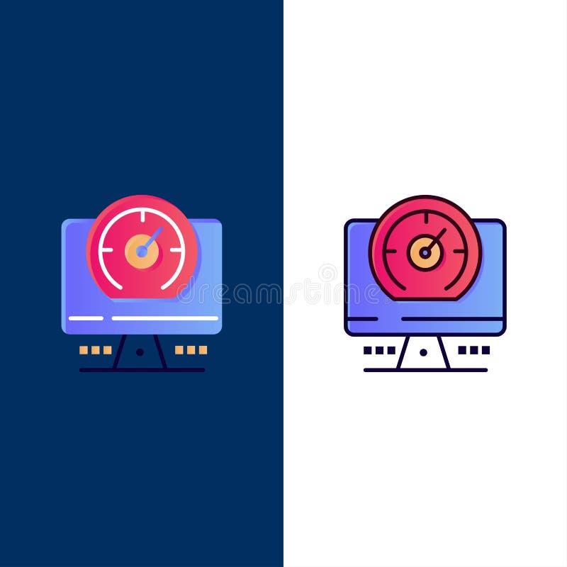 Bussola, computer, temporizzatore, icone di posizione Il piano e la linea icona riempita hanno messo il fondo blu di vettore royalty illustrazione gratis