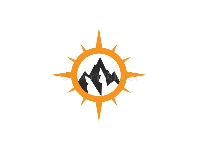 Bussola con la montagna per l'illustratore di progettazione di logo, icona di esplorazione, facente un'escursione strumento illustrazione vettoriale