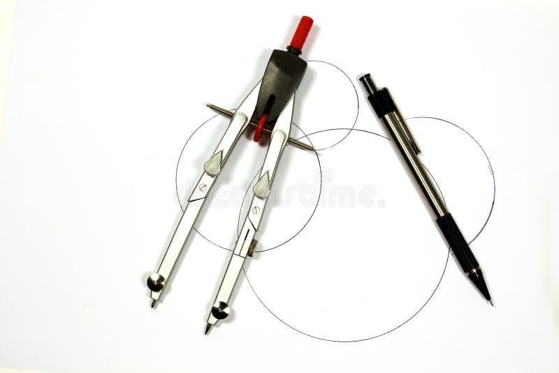 Bussola con la penna fotografia stock libera da diritti