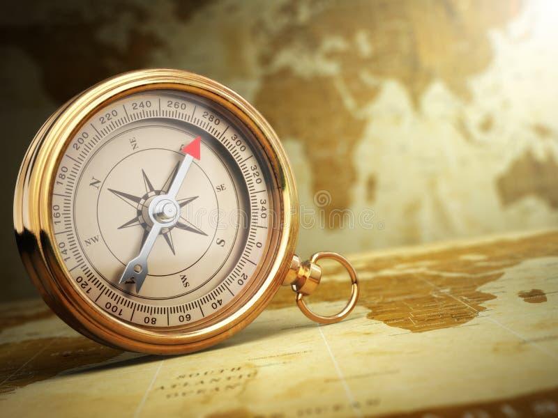 Bussola d'annata sulla mappa di vecchio mondo concetto di corsa illustrazione di stock