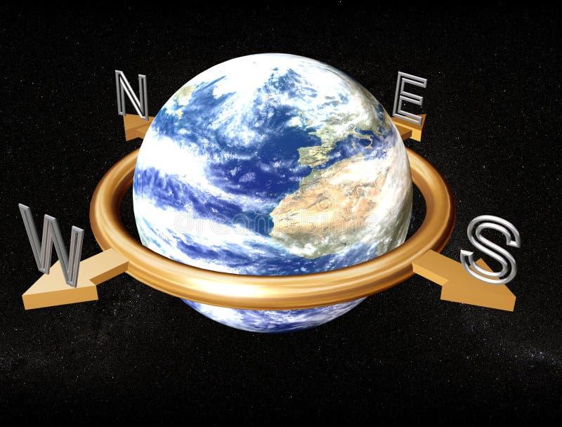 Bussola della terra illustrazione vettoriale