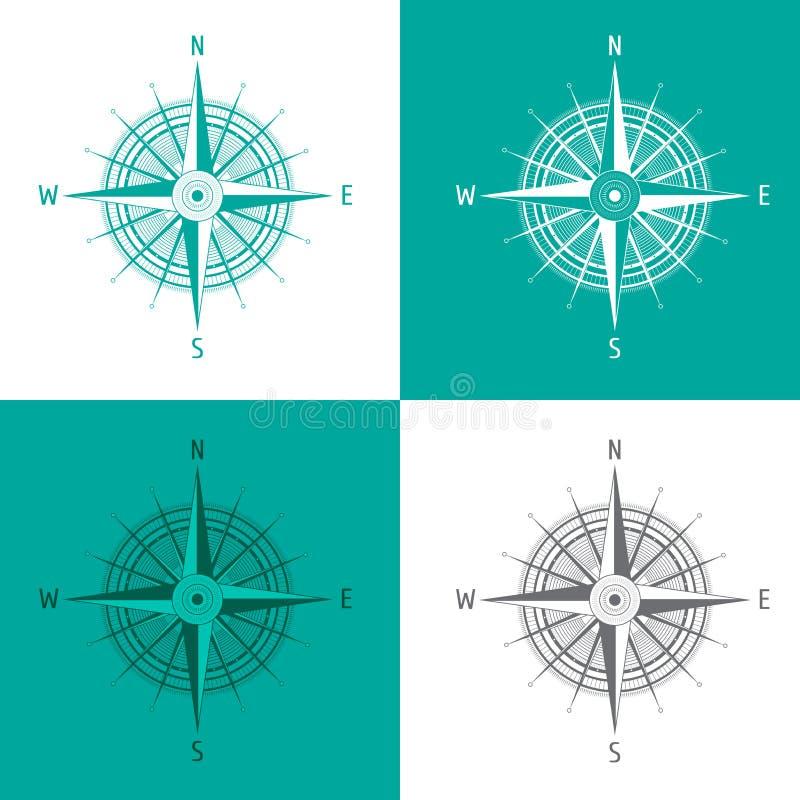 Bussola dettagliata Windrose dell'insieme su bianco illustrazione vettoriale