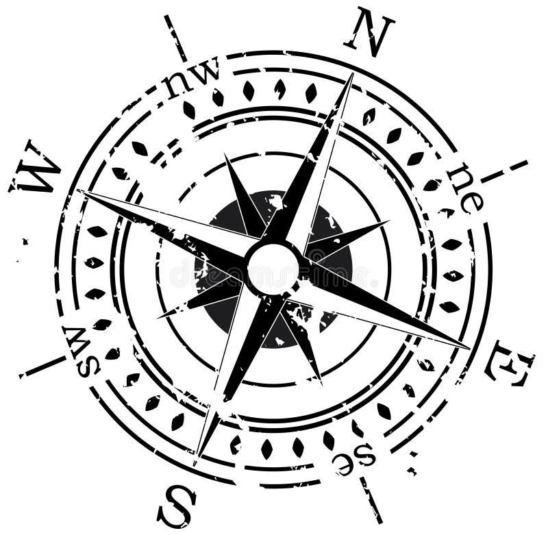 Bussola di Grunge illustrazione di stock