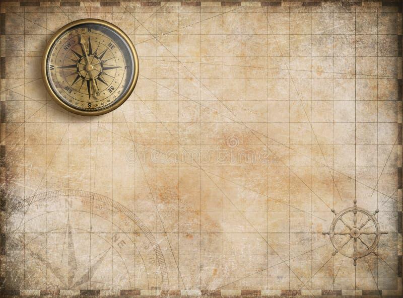 Bussola dorata d'annata con la mappa nautica illustrazione di stock