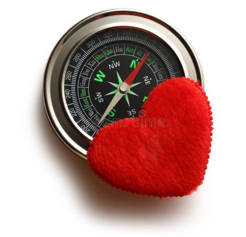 Bussola e cuore rosso immagini stock libere da diritti