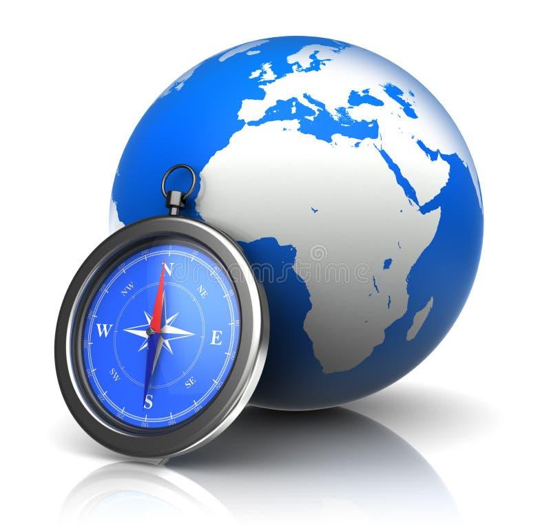 Bussola e globo illustrazione di stock