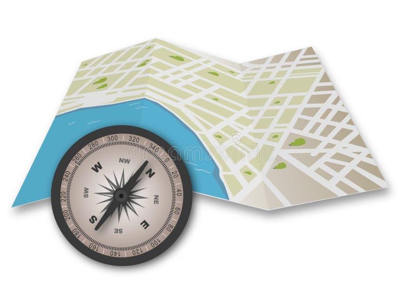 Bussola e mappa illustrazione vettoriale