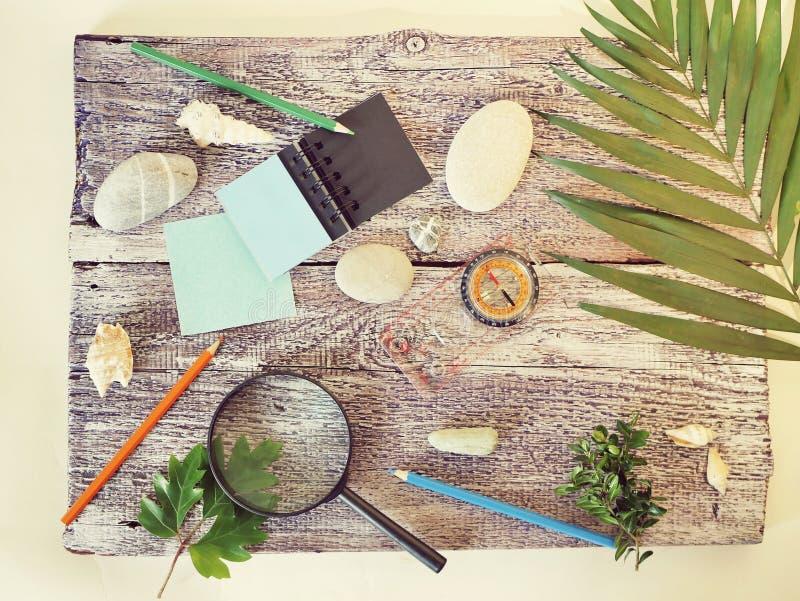 Bussola, lente, blocco note, matita, pietre del mare, foglia di palma su una tavola di legno strutturale, vista superiore immagine stock libera da diritti