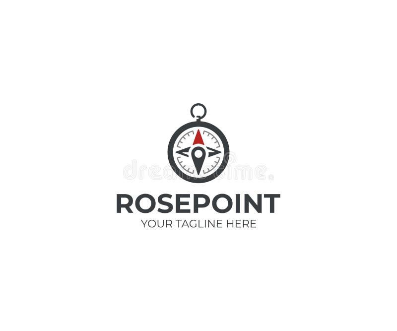Bussola Logo Template Progettazione di vettore dell'indicatore del posto e della rosa dei venti royalty illustrazione gratis