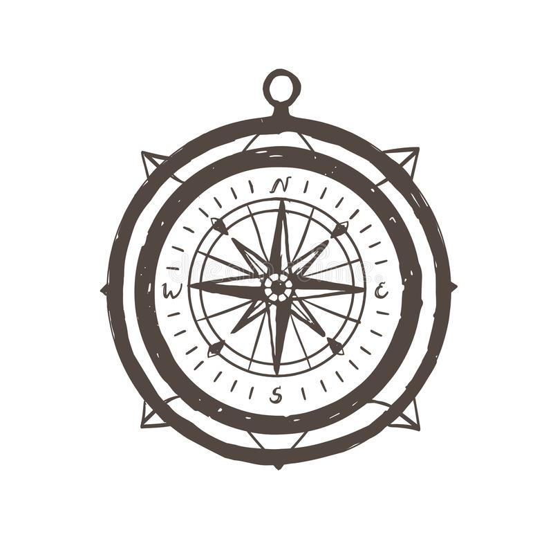 Bussola magnetica d'annata disegnata a mano con i profili su fondo bianco Strumento turistico per navigazione, orientamento illustrazione di stock