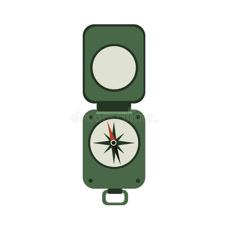 Bussola militare verde Bussola di stile dell'esercito del ` s del viaggiatore con il coperchio Vector l'illustrazione piana dell' royalty illustrazione gratis