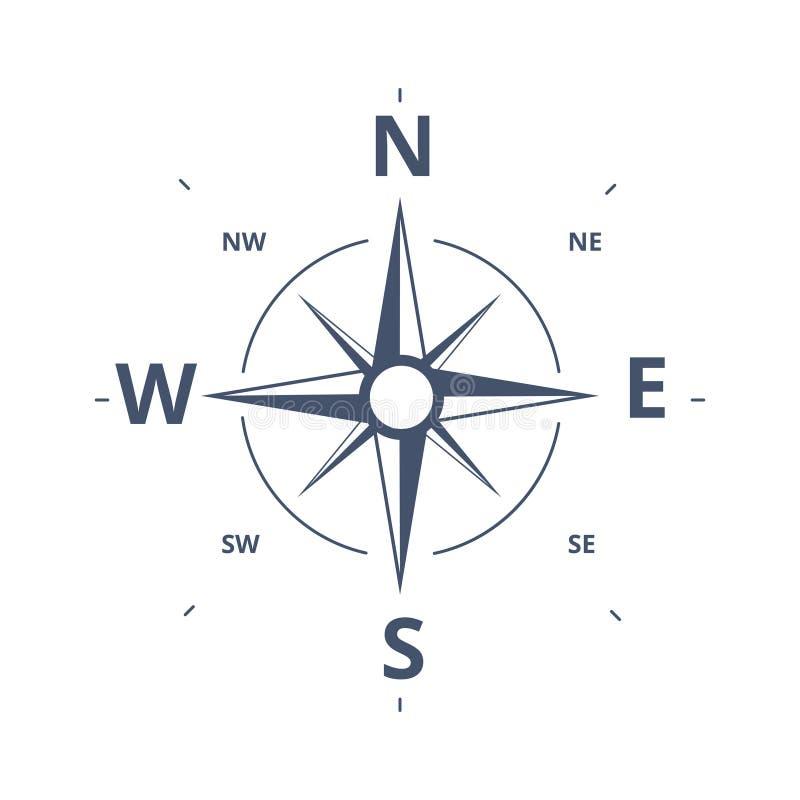 Bussola Rose Icon Vector Logo Template Retro progettazione c della rosa dei venti illustrazione vettoriale
