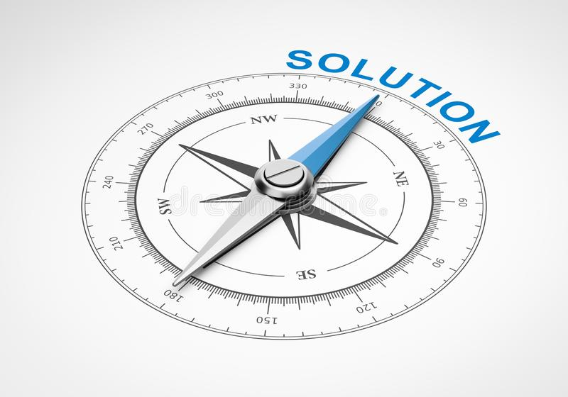 Bussola su fondo bianco, concetto della soluzione illustrazione vettoriale