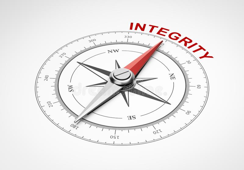 Bussola su fondo bianco, concetto di integrità illustrazione di stock