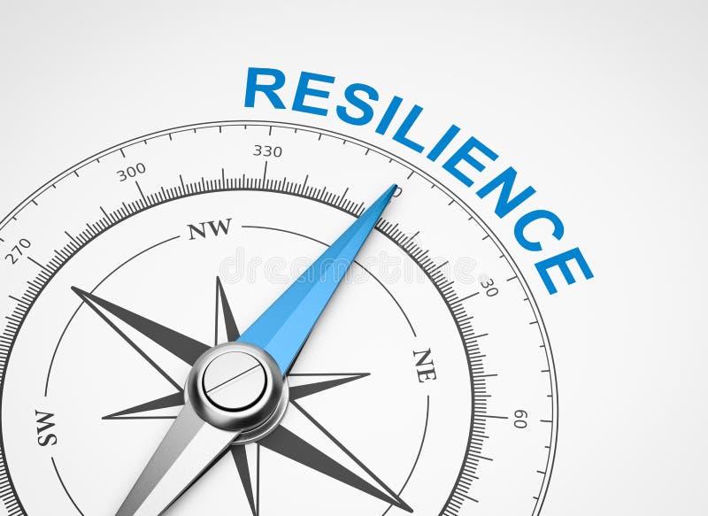 Bussola su fondo bianco, concetto di resilienza illustrazione vettoriale
