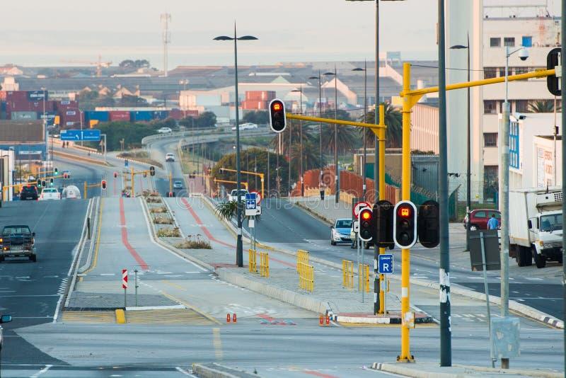 Bussruttar på vägen i Port Elizabeth arkivbild