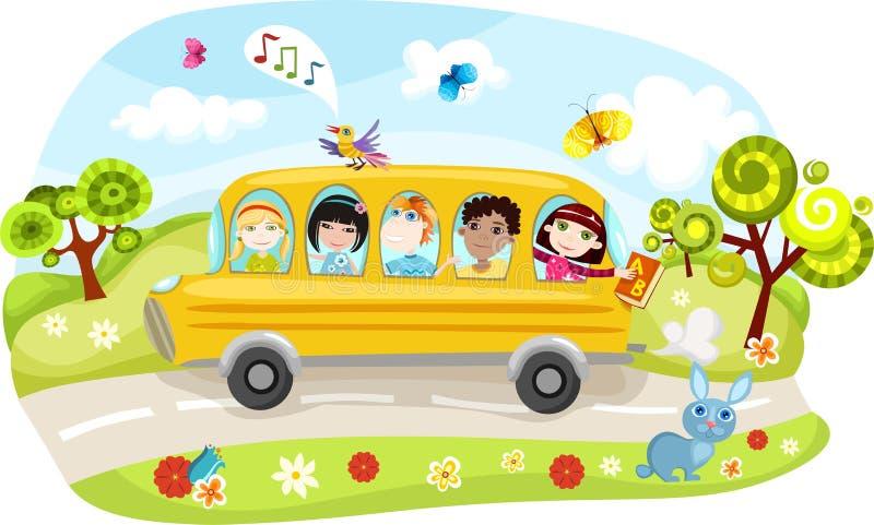 bussskola stock illustrationer