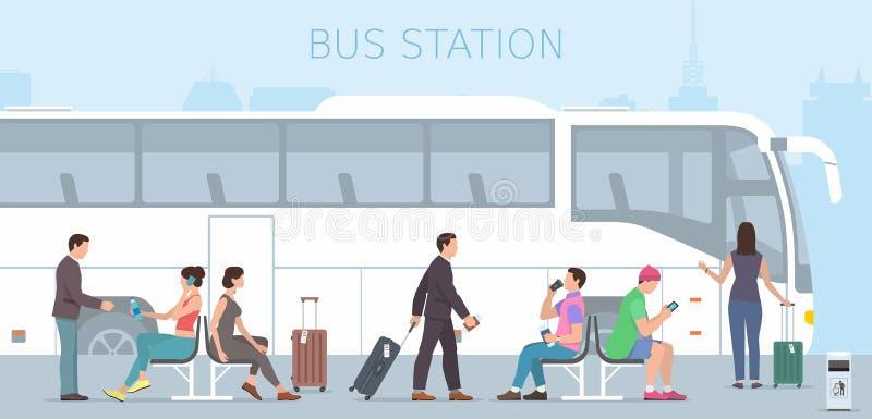 Bussstation vektor illustrationer
